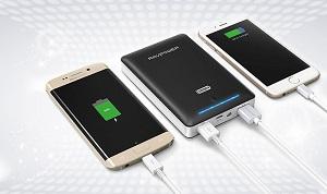Zwarte universele lader voor 2 smartphones