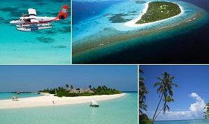De Malediven met palmbomen, stranden en watervliegtuig