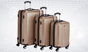 Kit de 3 valises à roulettes marrons