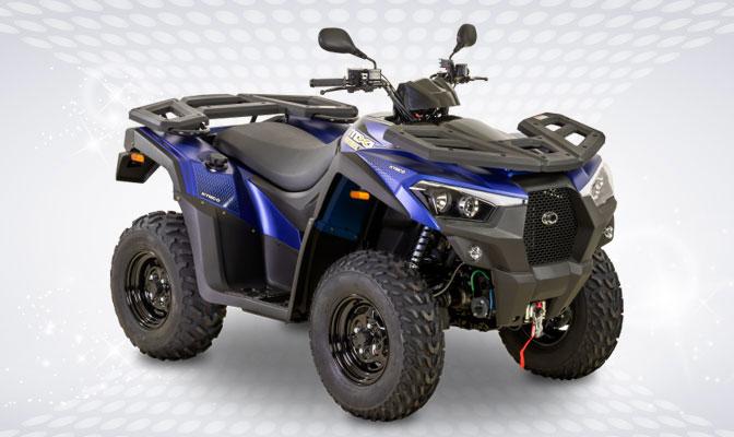 Blauw en zwarte Kymco MXU 550i EPS0-quad
