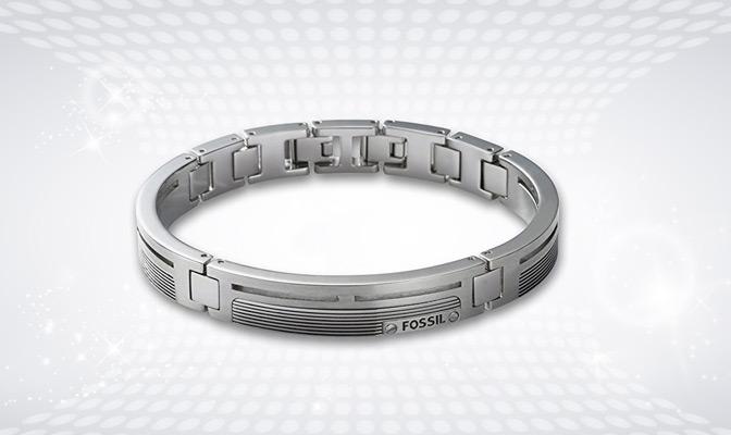 Bracelet Fossil en argent pour homme