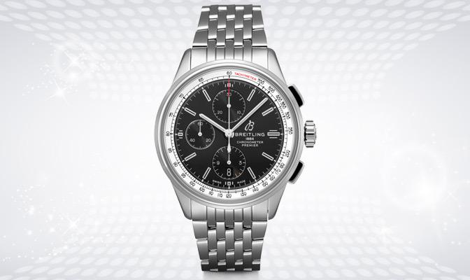 Breitling-horloge met zwarte wijzerplaat en ijzeren band