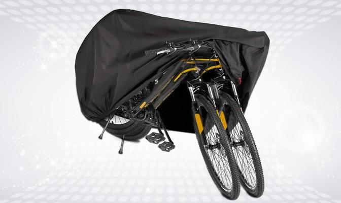 Zwarte beschermhoes voor 2 fietsen