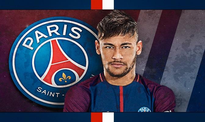 Neymar voor het PSG-logo