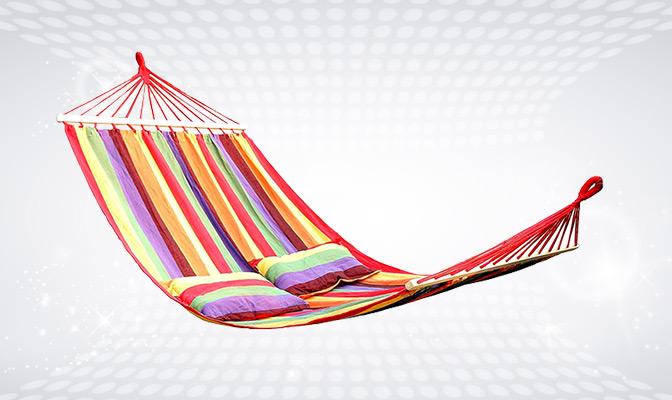 Multicoloured hammock with 2 cushions