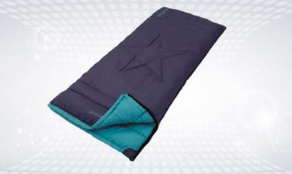 Black sleeping back with blue interior