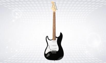 Wit en zwarte elektrische Fazley FST118-gitaar
