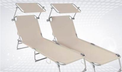 2 beige sun loungers with built-in sun visor